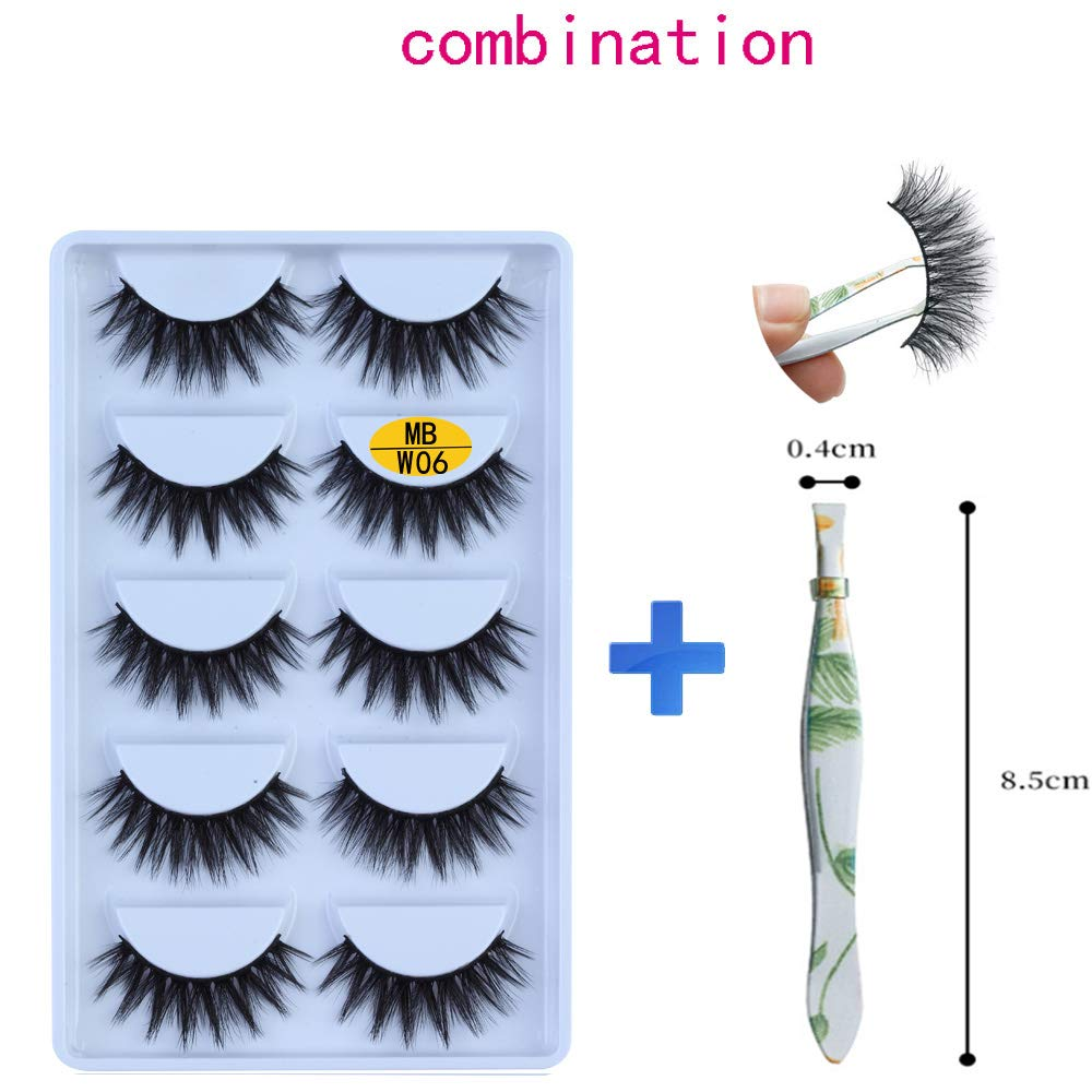 5 Pair 3D Mink Eyelashes For Women Natural Look Fluffy Volume Soft Eyelashes with Clip (W06)