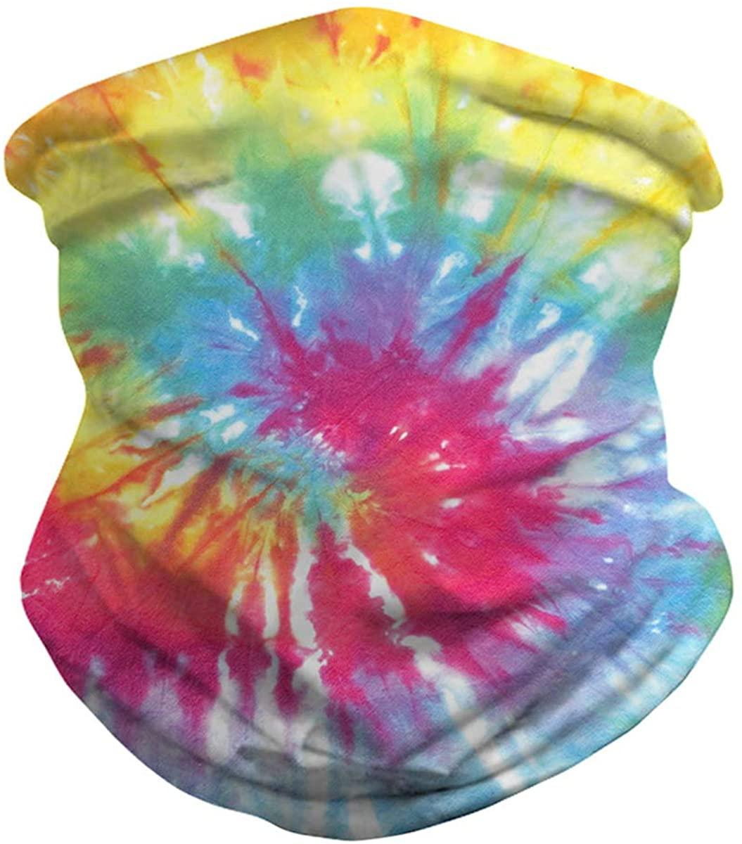 Unisex Face Bandana Seamless Galaxy Tie Dye Neck Gaiter Scarf Sun UV Protection Headwear Women Men Balaclava for Dust Sports
