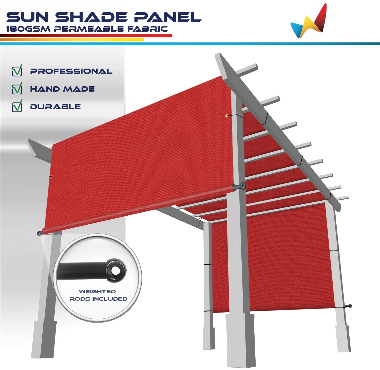 Windscreen4less 10' x 16' Universal Replacement Shade Cover Canopy for Pergola Patio Porch Privacy Shade Screen Panel with Grommets on 2 Sides Includes Weighted Rods Breathable UV Block Red