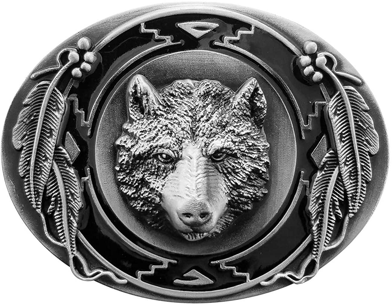 QUKE Vintage Howling Wild Wolf Belt Buckle Western Cowboy 3D Hunting Wolf Head Belt Buckle