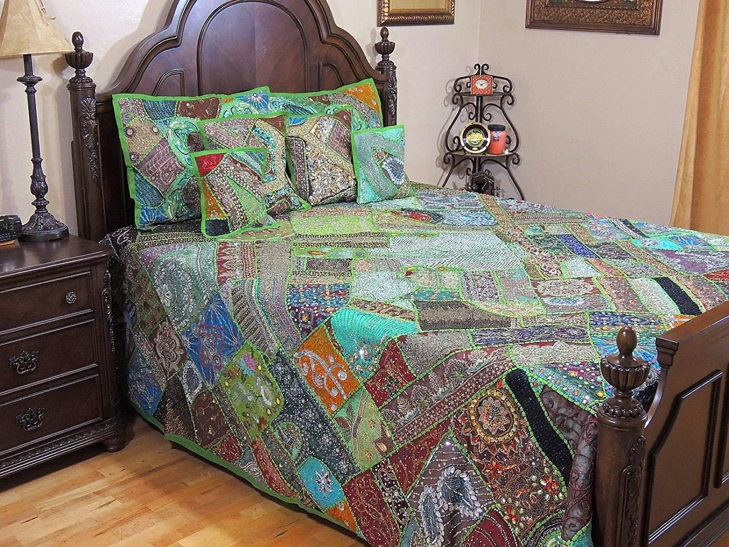 NovaHaat Green Unique Sari Patchwork Bedding Set - 7PC Moti, Beads and Zardozi Embroidery Work Handmade Indian Duvet, Pillow Shams and Cushion Covers ~ King 108 Inch x 92 Inch