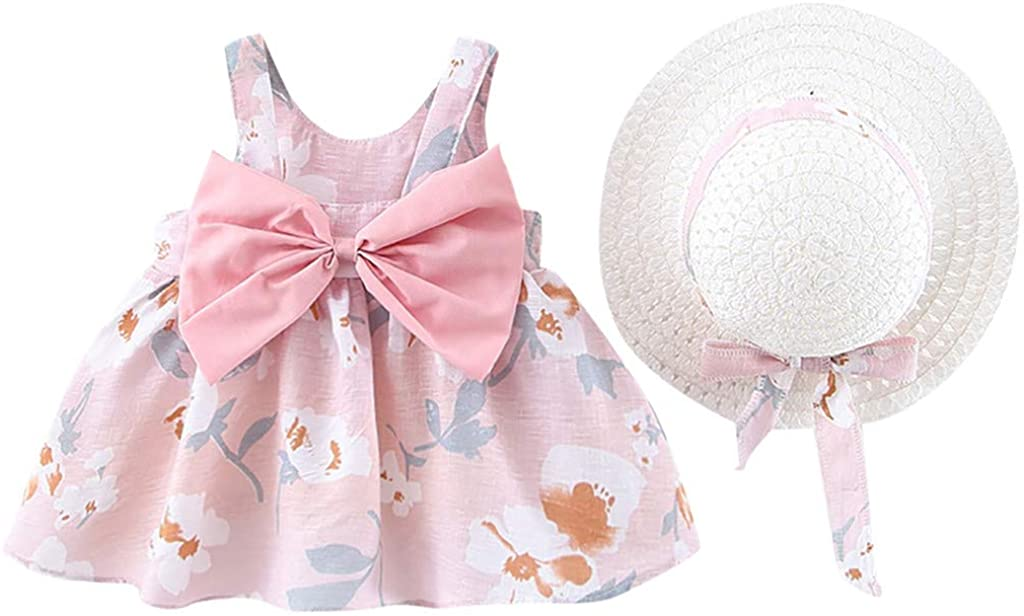 Girls Dress&Skirt, Toddler Baby Kids Girls Floral Flowers Princess Dress Hat Outfits Clothes, Clothing for Baby Kids
