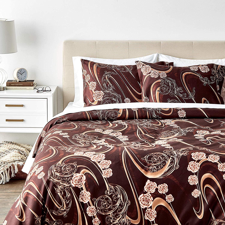 Tache Home Fashion Melted Gold Floral Duvet Cover Set, King, Brown