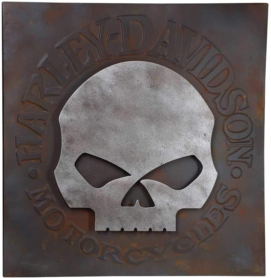Harley-Davidson Distressed Willie G Skull Metal Wall Art, 28 inches HDL-15520