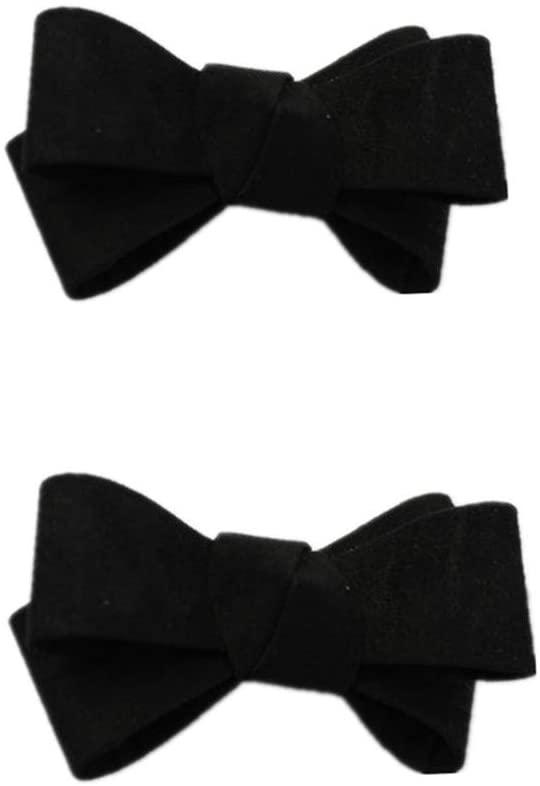 Douqu Assorted Color Fashion Leather Bow Shoes Clips Velvet Decorative Shoe Accessories Shoe Clip Charms (Black)
