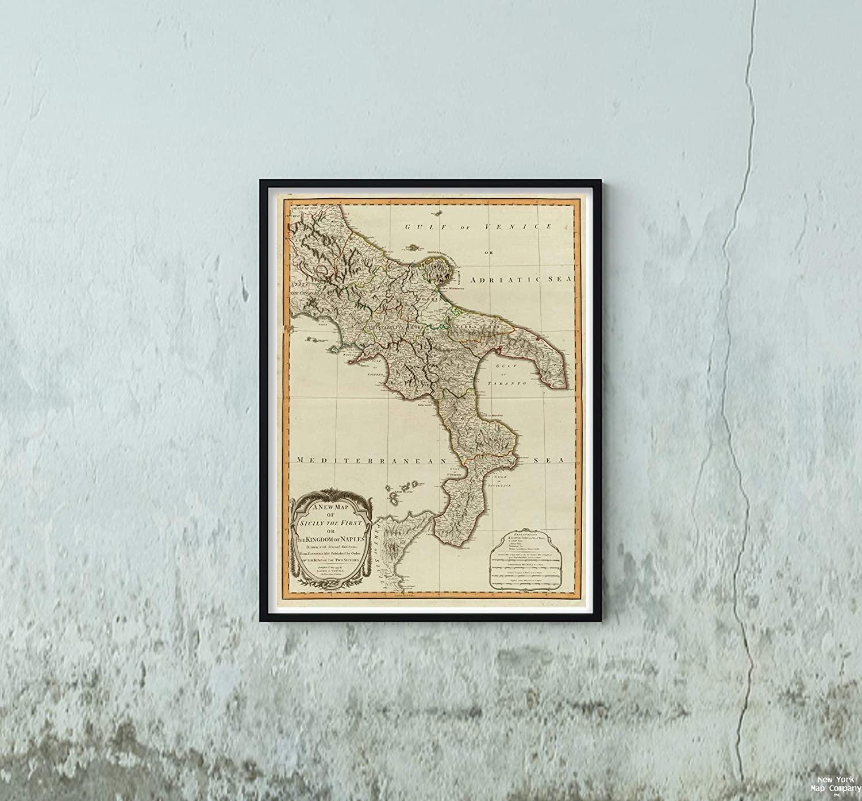 1799 Map|World Atlas Sicily, Kingdom of Naples|Historic Antique Vintage Reprint|Size: 18x24|Ready to Frame
