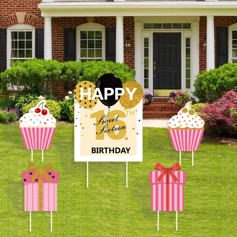 vinfo Sweet 16 Yard signs-16th Birthday Lawn Signs with Stakes for Girls-5 Piece Outdoor Yard Cards and Yard Decorations