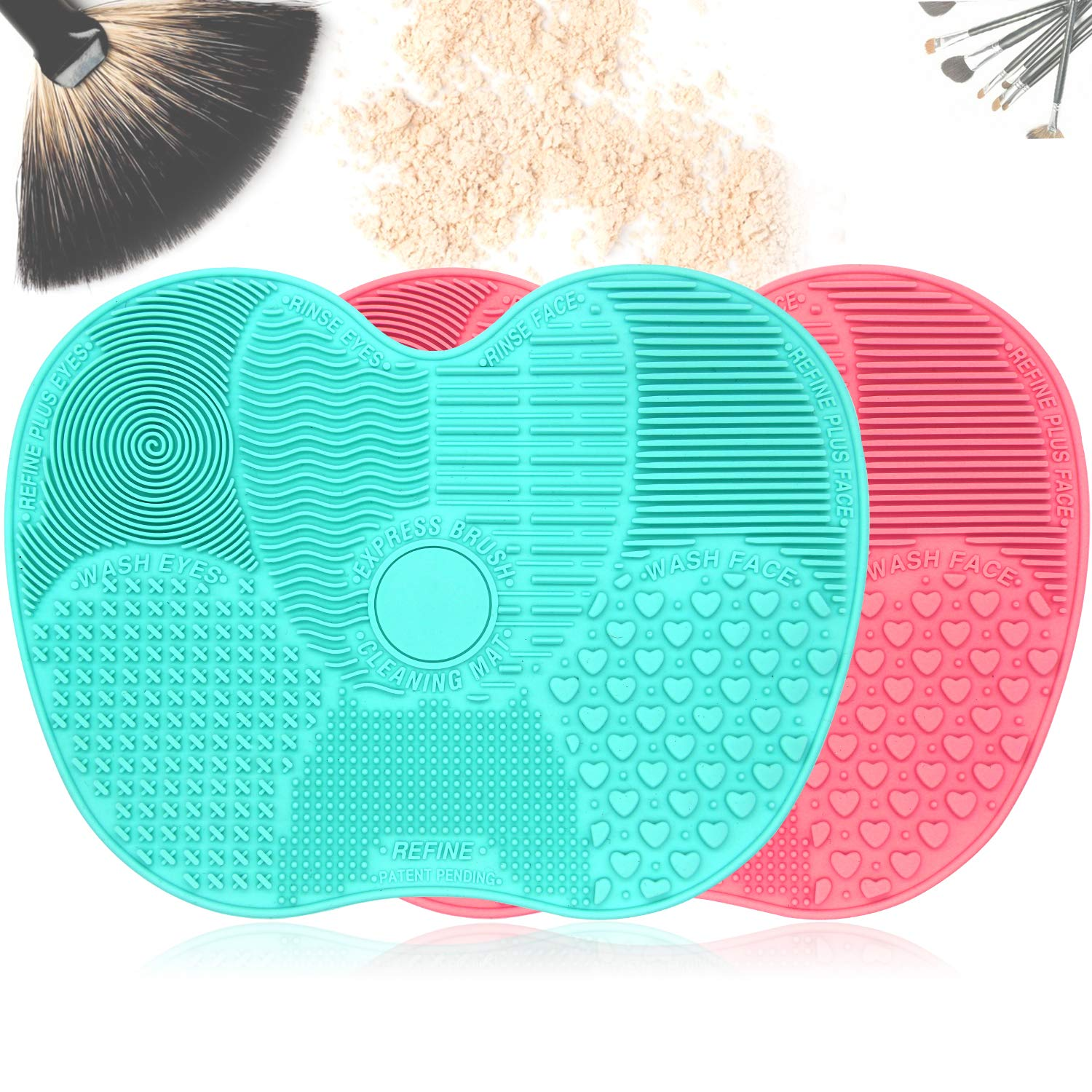 Portable Makeup Brush Cleaning Mat, Pack of 2 Colors Silicone Suction Cup Portable Cosmetic Brush Cleaning Tool for Travel & Home