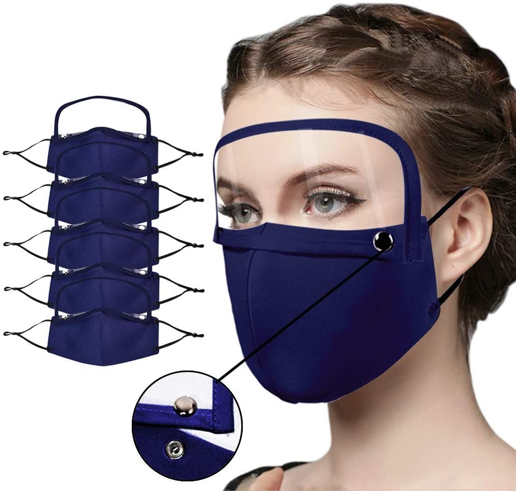 Face Covering with Detachable Eyes Shield for Adults,5PCS Adult Reusable Washable Protection Face,Cotton Outdoor Haze Dust Face Health Protection (A-5PCS Blue)