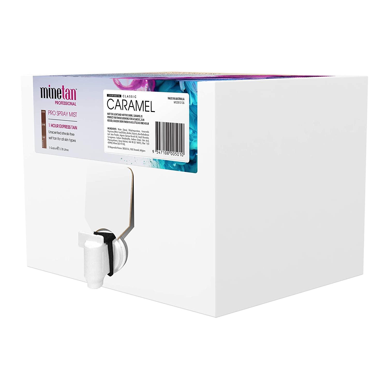 MineTan Spray Tan Solution - Caramel Pro Spray Mist - Salon Professional 1 Hour Express Tan For A Sunkissed, Golden Finish, 1 Gallon Box