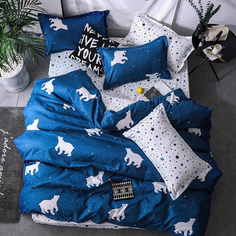 DIADIR Cartoon Polar Bear Bedding Sets boy Childrens Beddingset Duvet Cover Pillowcase (Queen)