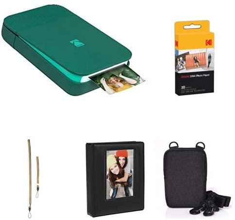 KODAK Smile Instant Digital Printer (Green) with Extra Paper, Album, Case, Colorful Neck/Hand Strap