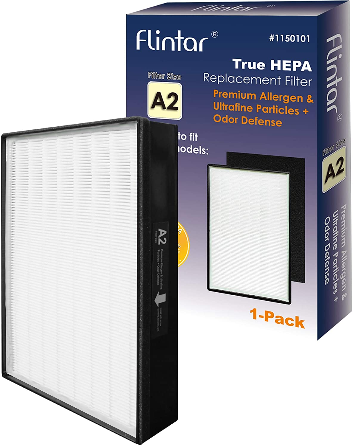 Flintar Type A2 H13 Medical Grade True HEPA Replacement Filter, Compatible with 3M Filtrete Room Air Purifier, Allergens Ultrafine Particles + Odor Defense, Part # 1150101, Filter A2, 1-Pack