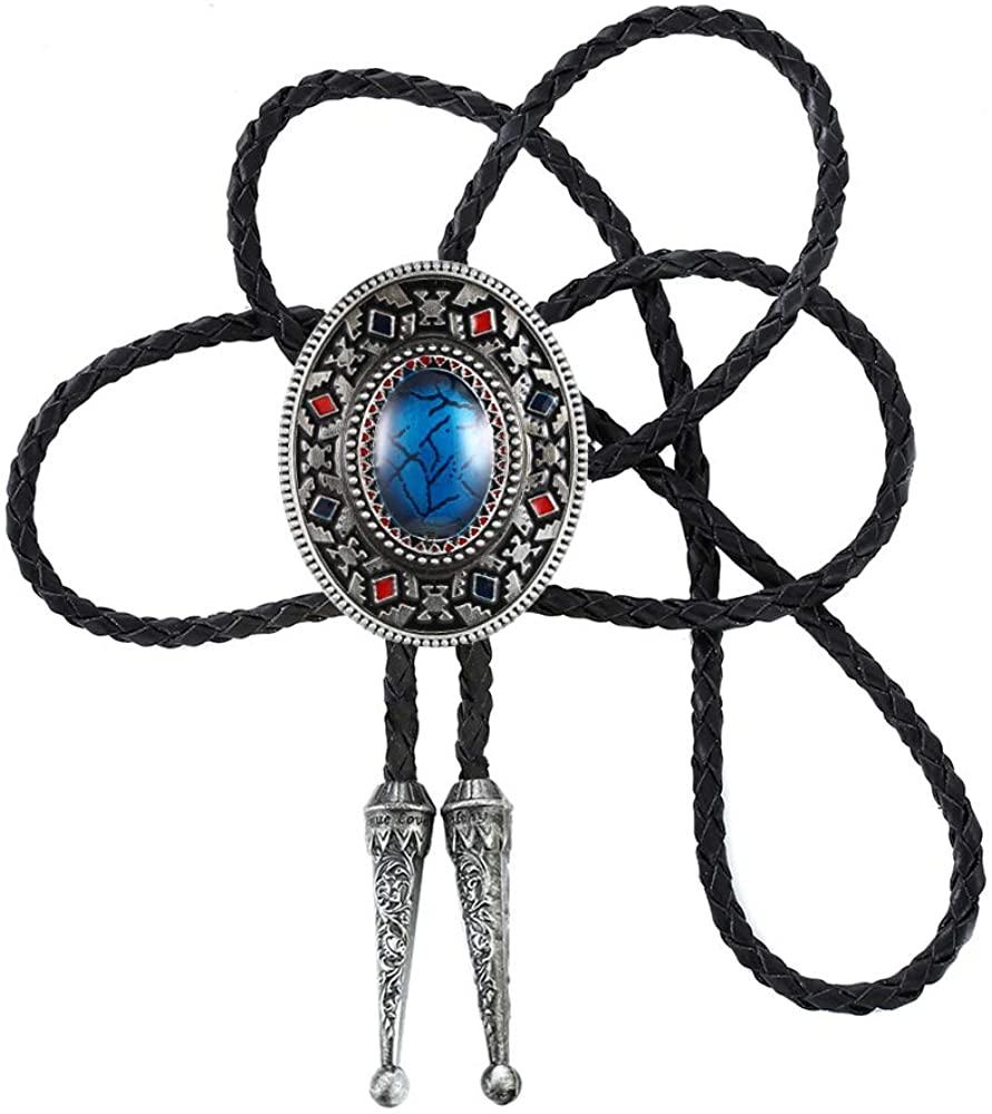 KDG Nature Agate Triangle Shape Western Cowboy Celtic Black Stone Bolo Tie Necktie For Men