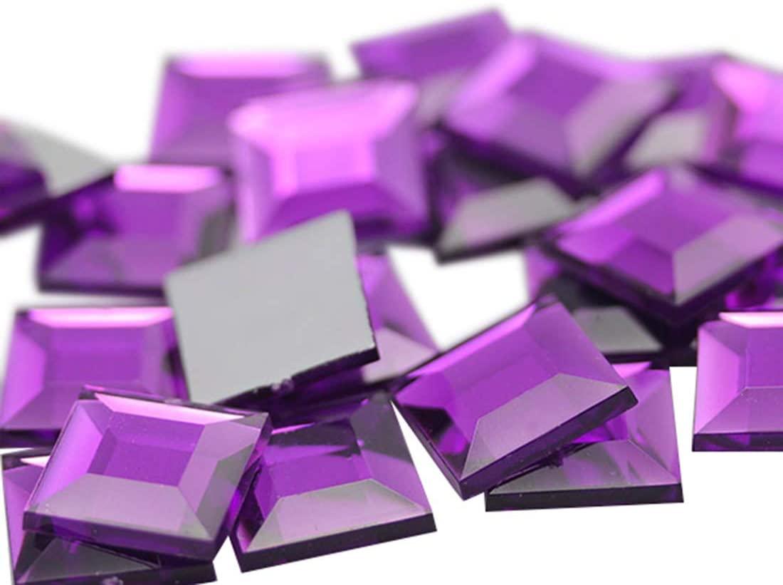 Allstarco 8mm Flat Back Square Acrylic Rhinestones Small Face Gems Body Jewels Card Making Embelishments - 75 Pieces (Purple Amethyst Lt .NAT02L)
