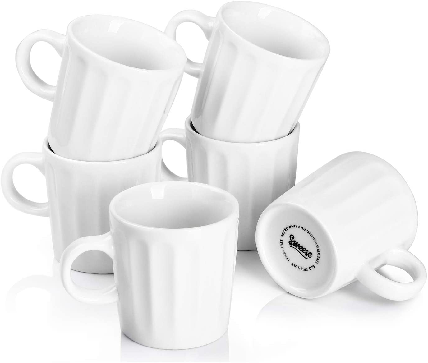 Sweese 410.002 Porcelain Fluted Espresso Cups - 3.5 Ounce - Set of 6, White