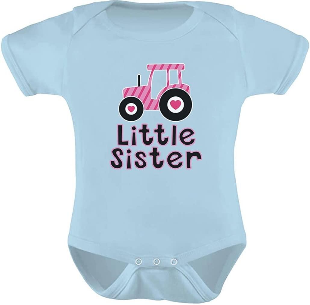 TeeStars - Gift for Little Sister Cute Pink Tractor Baby Girl Baby Bodysuit