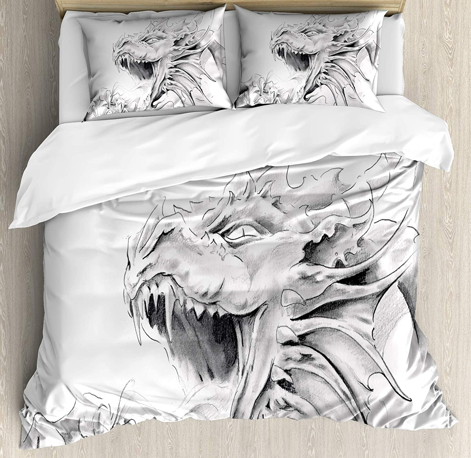 Ambesonne Dragon Duvet Cover Set, Sketch of a Medieval Character Mythological Creature Abstract Design, Decorative 3 Piece Bedding Set with 2 Pillow Shams, King Size, Grey White