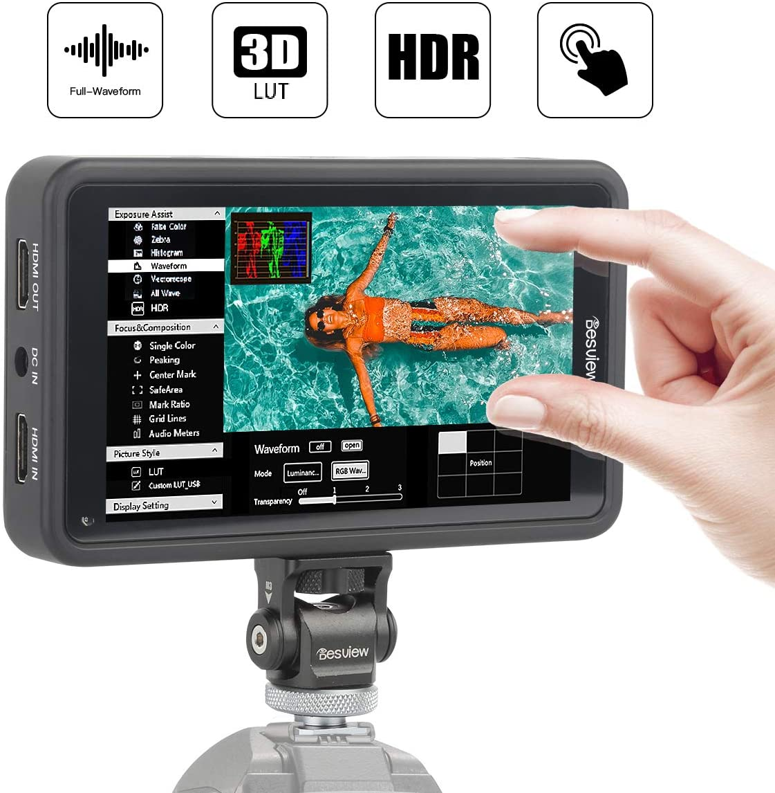 Desview R5, 5.5 inch Touchscreen On-Camera Field Monitor, 1920x1080 IPS with HDR/3D-Luts/Dual-use Battery System, on-Camera-Touchscreen-Field-Monitor