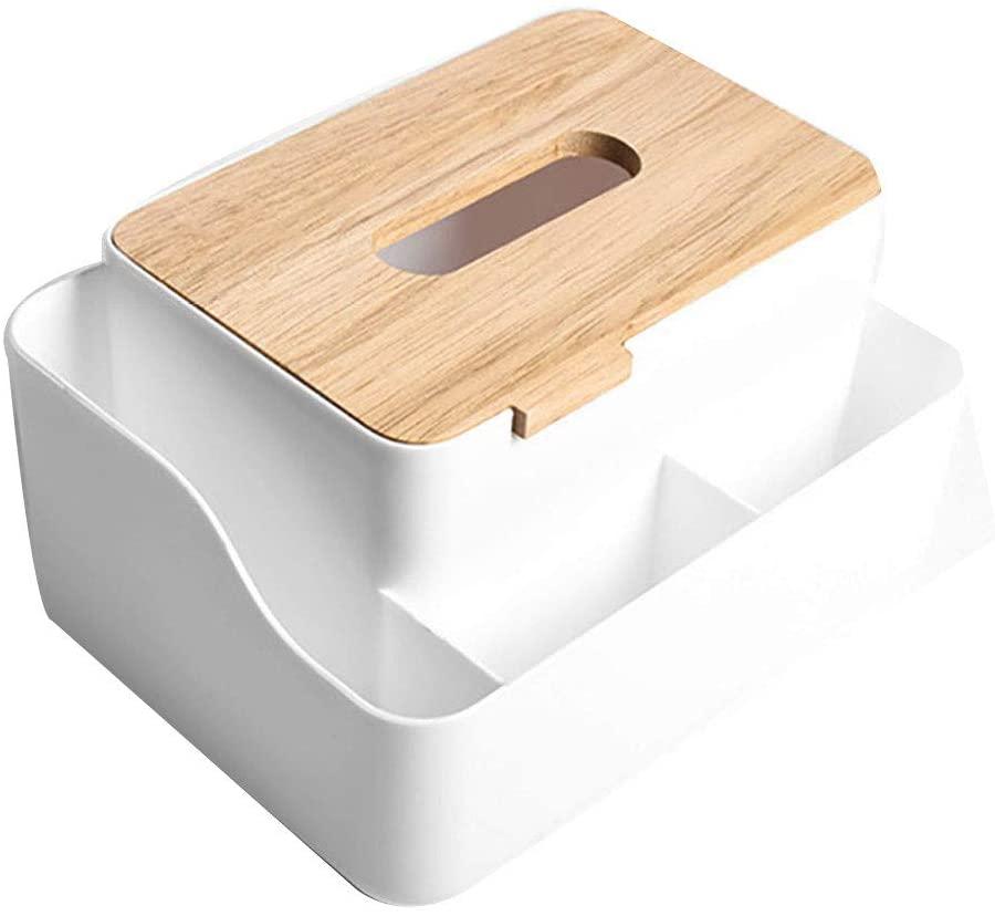 heaven2017 Multifunction Tissue Paper Holder Desktop Organizer Napkin Dispenser Case Box White
