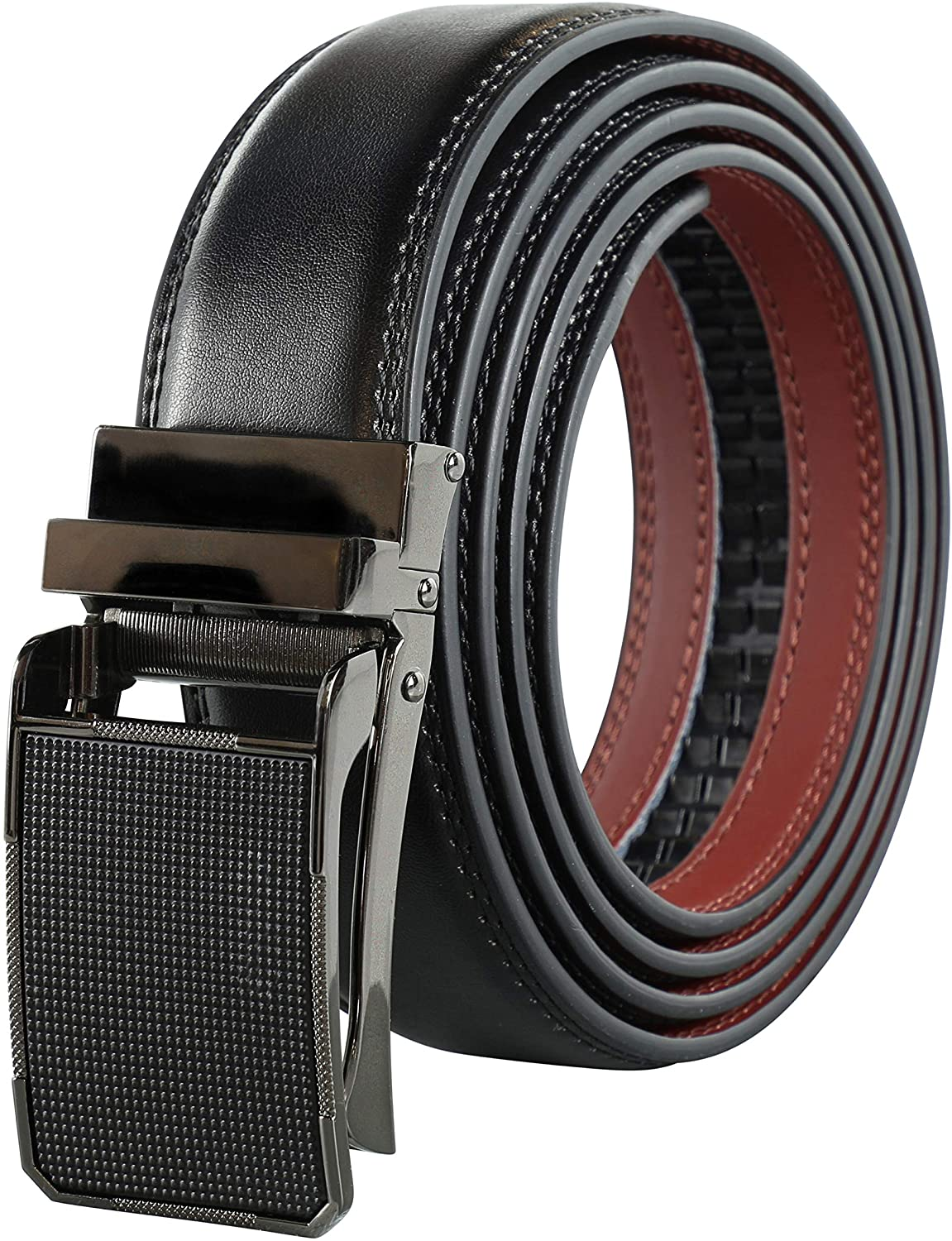 Leather Belts for Men – Pull Release Buckle Designer Dress Belt - V487