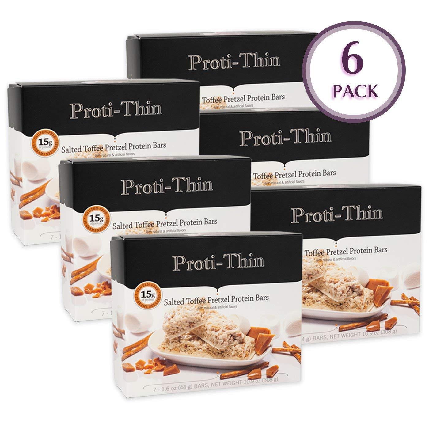 Proti-Thin - Salted Toffee Pretzel Protein Bar - 15g Protein - Low-Carb Diet Bar - High Fiber Snack Bar - Gluten Free - 6 Boxes (Save 10%)