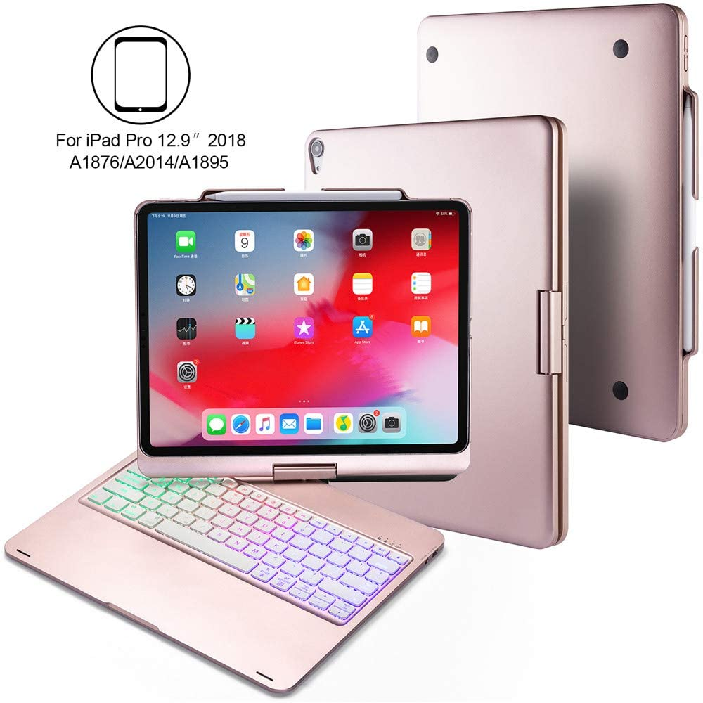"""BHUATO Keyboard Case Compatible iPad Pro 12.9"""" 2018 360 Rotate 180 Flip Cover Wireless Bluetooth Backlit 7 Color Thin & Light 2 in 1 Smart Keyboard + Tablet Case, Supports Pencil 2nd Gen Charging"""