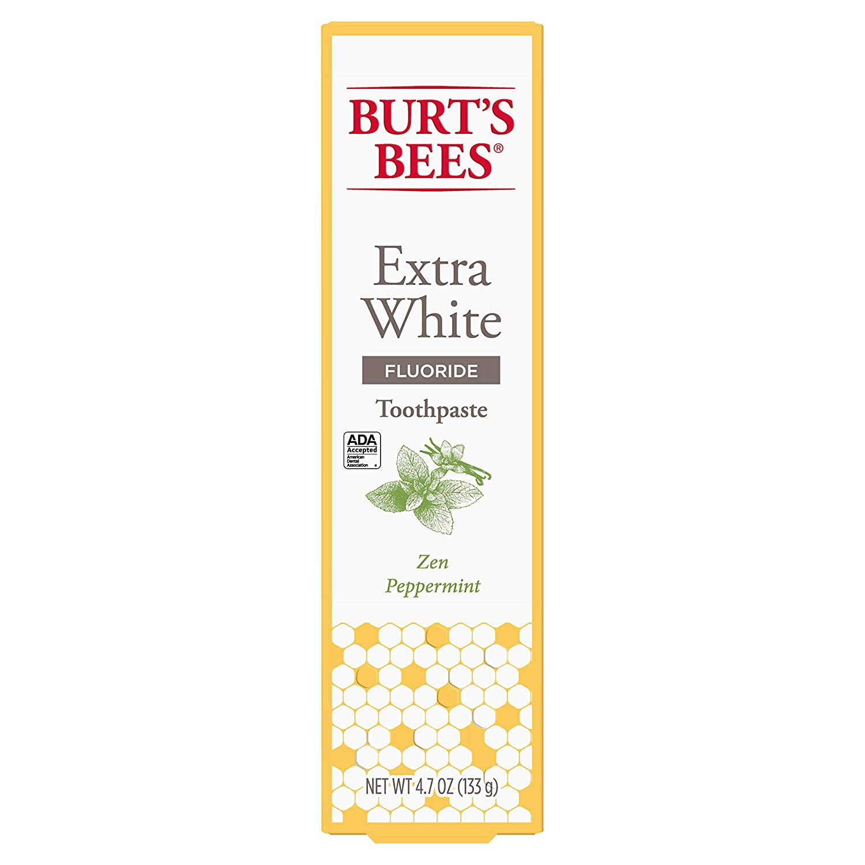 Burt's Bees Toothpaste with Fluoride, Extra White, Zen Peppermint, 4.7 oz