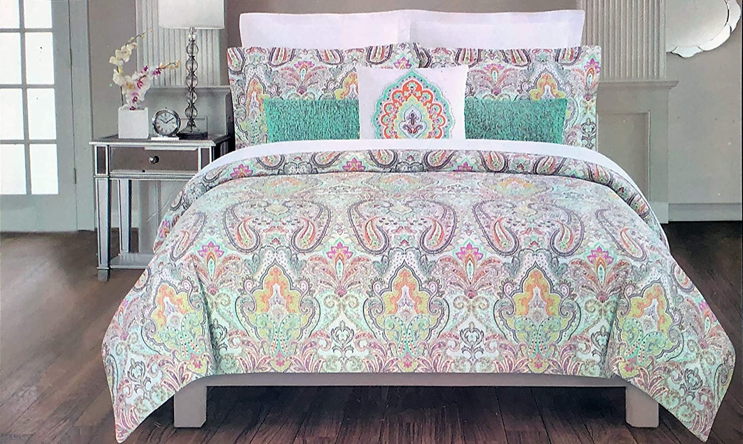 Cynthia Rowley New York 3pc Duvet Set Duvet Quilt Cover Bohemian Style Exotic Colorful Paisley Damask Medallion Print 100% Cotton 3 Piece Bedding Set, Evelyn Bright (Full/Queen)