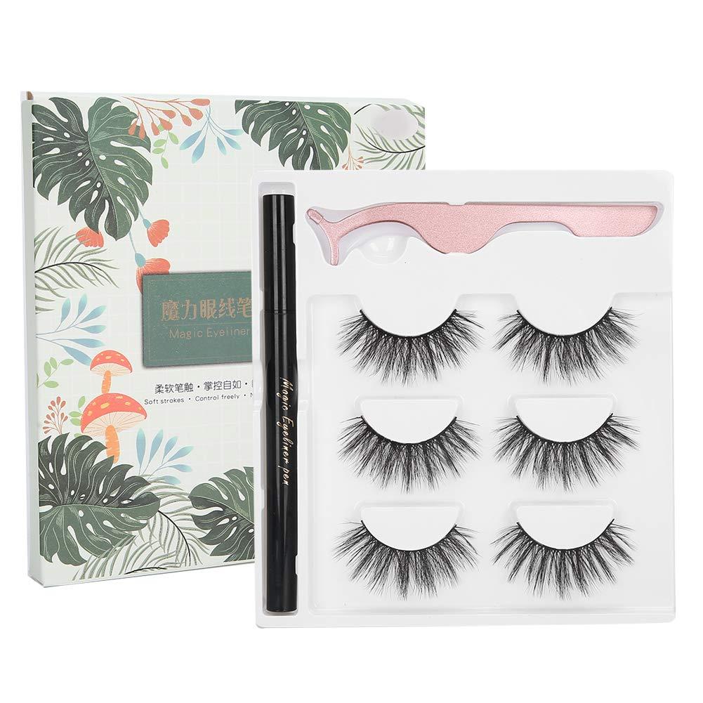Magic Eyeliner and Eyelashes Kit - Natural Look Self‑Adhesive Eyeliner Waterproof Liquid Eyeliner False Eyelashes Tweezers Makeup Tool Set(01)