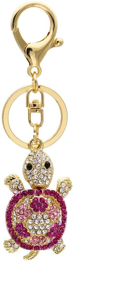 JewelBeauty Rhinestone Crystal Tortoise Turtle Keychains Handbag Key Holder Keyring for Car Purse Bag Charm Pendant (Pink)