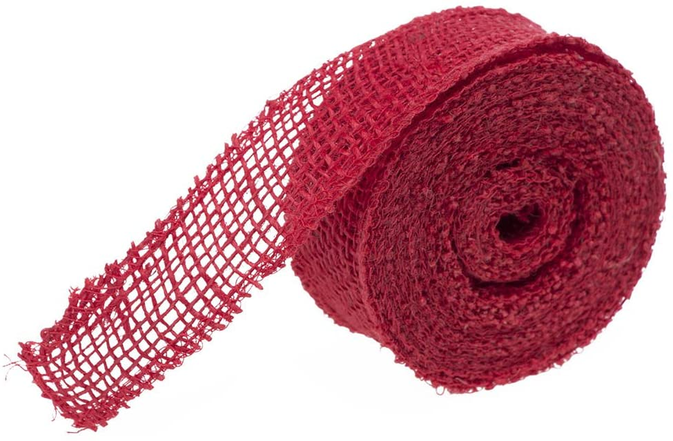 JAM PAPER Burlap Ribbon - 1 1/2 x 10 Yards - Red - Sold Individually