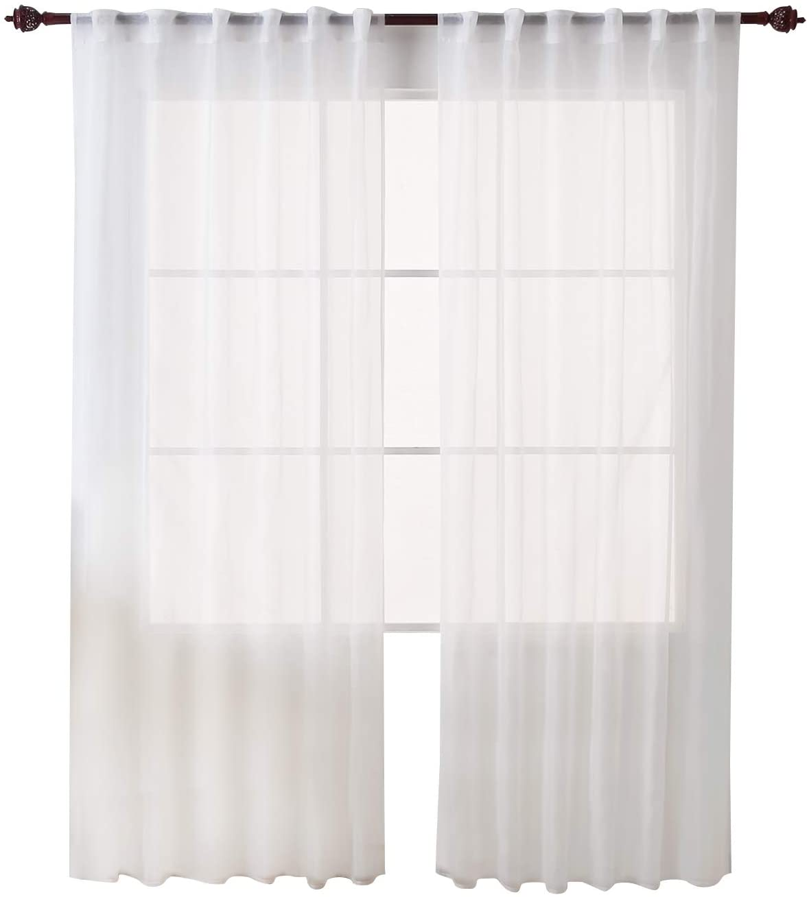 Deconovo White Sheer Curtains 84 Inch Length - Back Tab and Rod Pocket Voile Drape Curtains for Bedroom 2 Panels 52W x 84L Inch