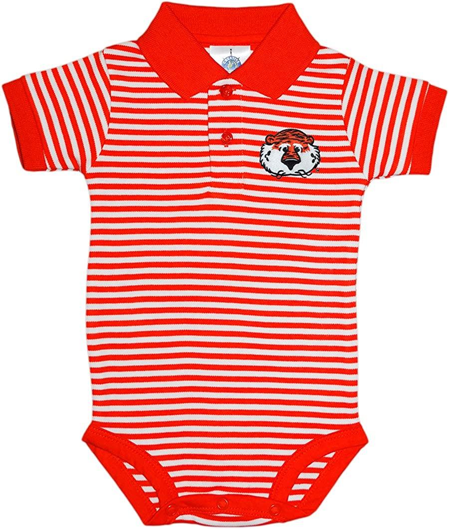 Auburn University Aubie Head Newborn Striped Polo Bodysuit