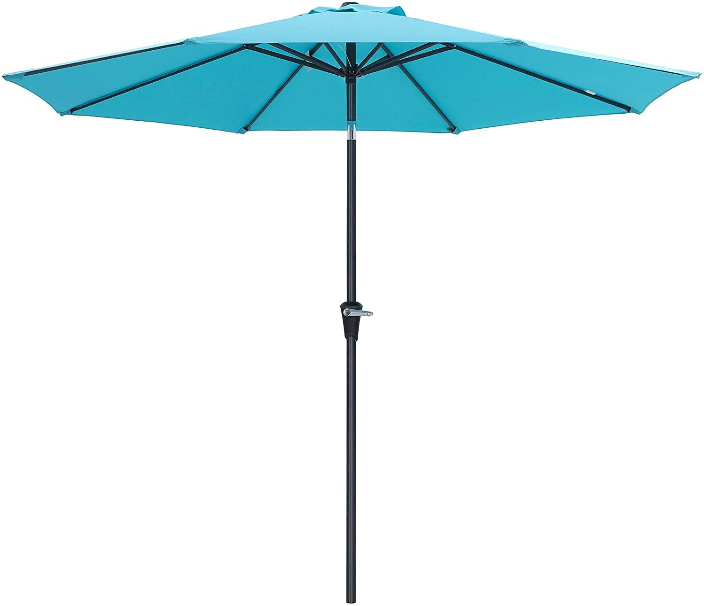 SONGMICS 9 Feet Patio Umbrella, Outdoor Table Umbrella, Sun Shade, Octagonal Polyester Canopy, with Push Button Tilt and Crank Mechanism - for Gardens, Balcony and Terrace Turquoise UGPU09JU