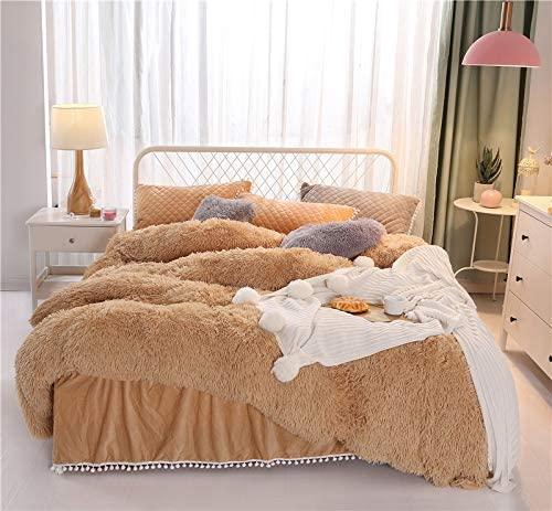 MOOWOO 1 PCS Soft Fuzzy Flannel Duvet Cover, Faux Fur Plush Bedding Set, Zipper Close and Ties, No Inside Filler (Camel, King)