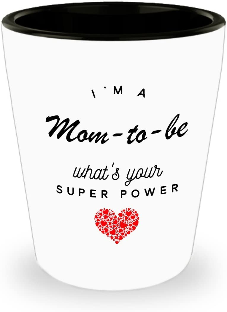 Mom-to-be Shot Glass, What's Your Super Power, Funny Birthday Holiday Gifts Ceramic Shot Glasses