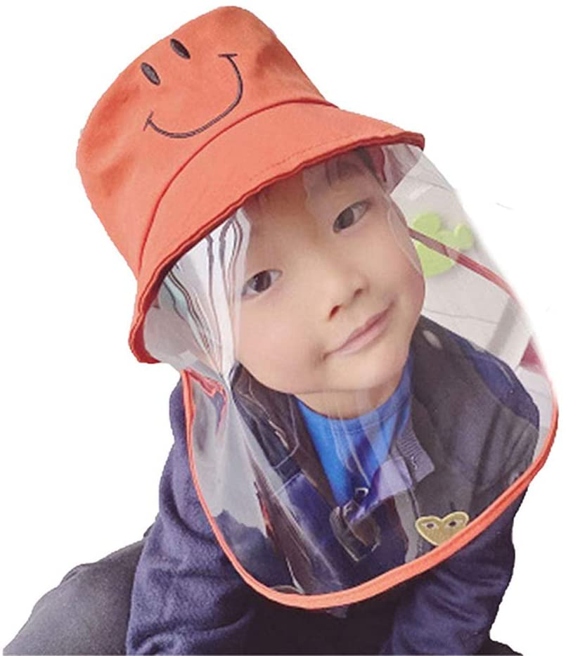 Kids Protective Hat Removable Full Face Shield Fisherman Hat for Children, Safety Cover Windproof Dustproof Face Protection Isolation Mask Anti UV Sun Cap (One Size for 2-7Y, Orange)