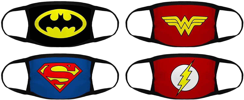 Batman,Wonder Woman,Superman,The Flash Logo 4Pcs Bandanas Face Mask Balaclava Face Cover Neck Gaiter for Outdoors, Sports