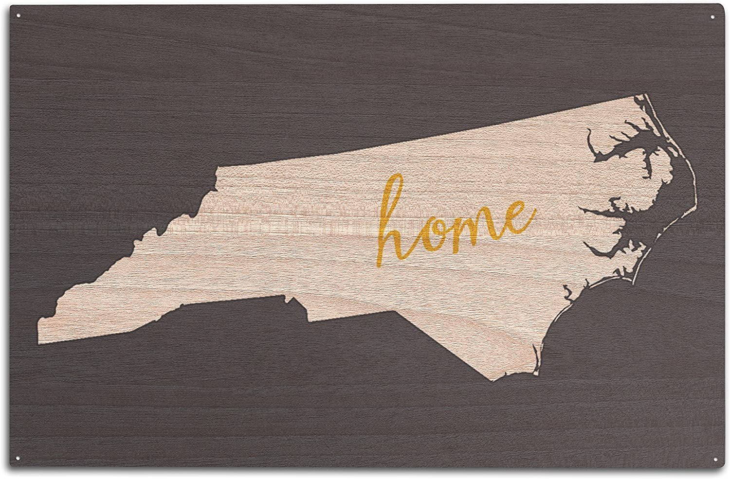 North Carolina - Home State - White on Gray (10x15 Wood Wall Sign, Wall Decor Ready to Hang)