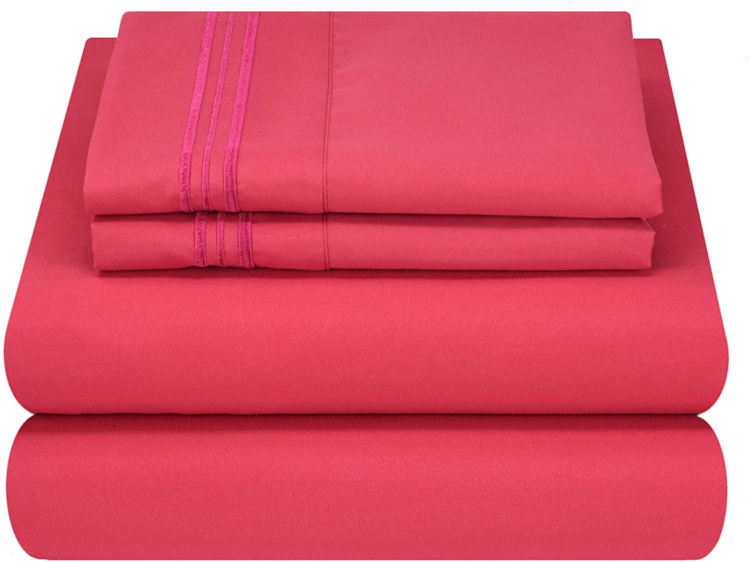 Mezzati Luxury Bed Sheet Set - Soft and Comfortable 1800 Prestige Collection - Brushed Microfiber Bedding (Hot Pink, Full Size)