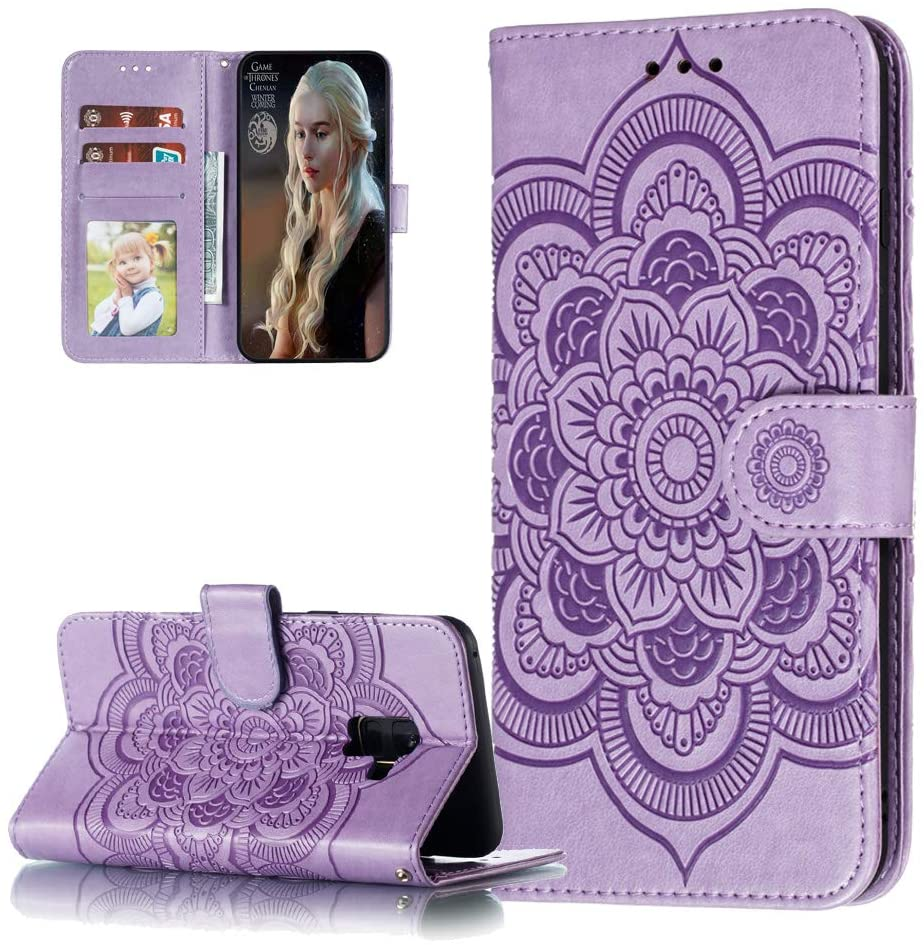 QIVSTAR Case Compatible For Samsung Galaxy A5 2018 Embossing PU Leather case Magnetic Wallet Case with Stand Scratchproof Protective Flip Ultra Case Cover for Samsung Galaxy A8 2018 Mandala Purple LD