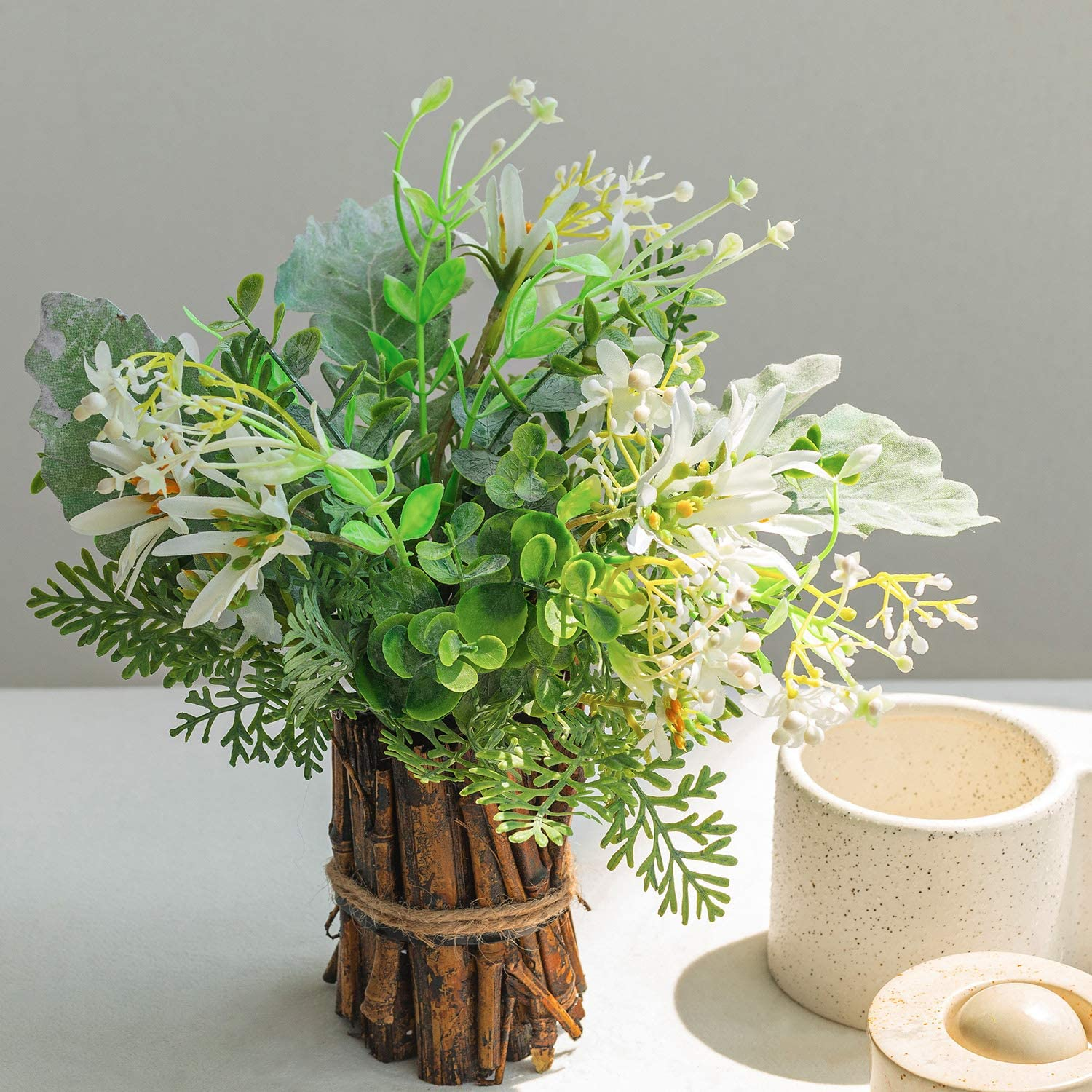 EREFAS Mini Potted Artificial Flowers 10.2