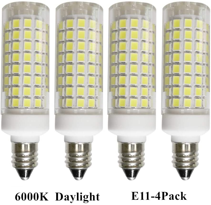 [4-Pack] E11 LED Bulbs,Daylight 6000K, Mini Candelabra Base, JD T3/T4 360° Beam Angle for Indoor Decorative Lighting, 7w 75W-100W Equivalent, Dimmable, 110/120/130Voltage Input.