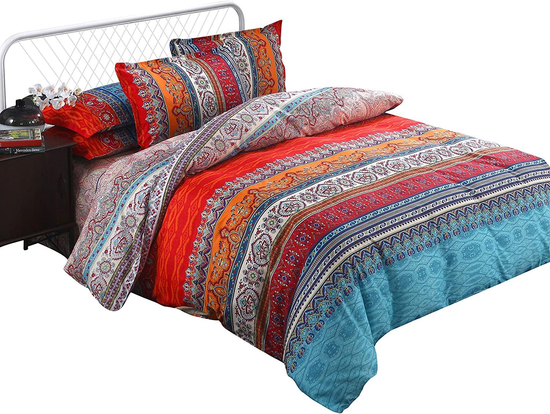 Arachnes Needle Bohemian Duvet Cover Set, Lightweight Microfiber Bedding Set with Pillow Shams-3 Pieces(King Size)