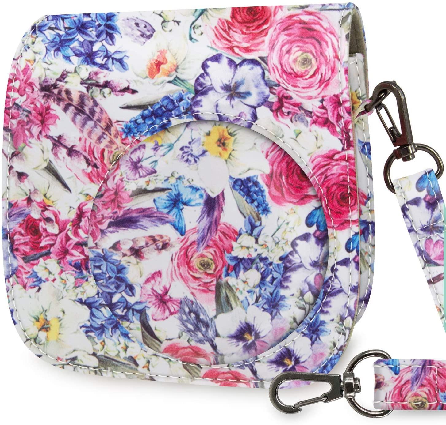 WOLVEN Protective Case Bag Purse Compatible with Mini 9 / Mini 8 / Mini 8+ Instant Camera (Colorful Flower)