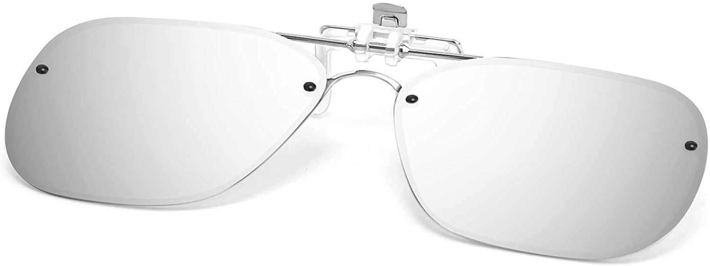 Karsaer Classic Polarized Clip-On Sunglasses Men Women Metal Square Frame Flip for Prescription Glasses