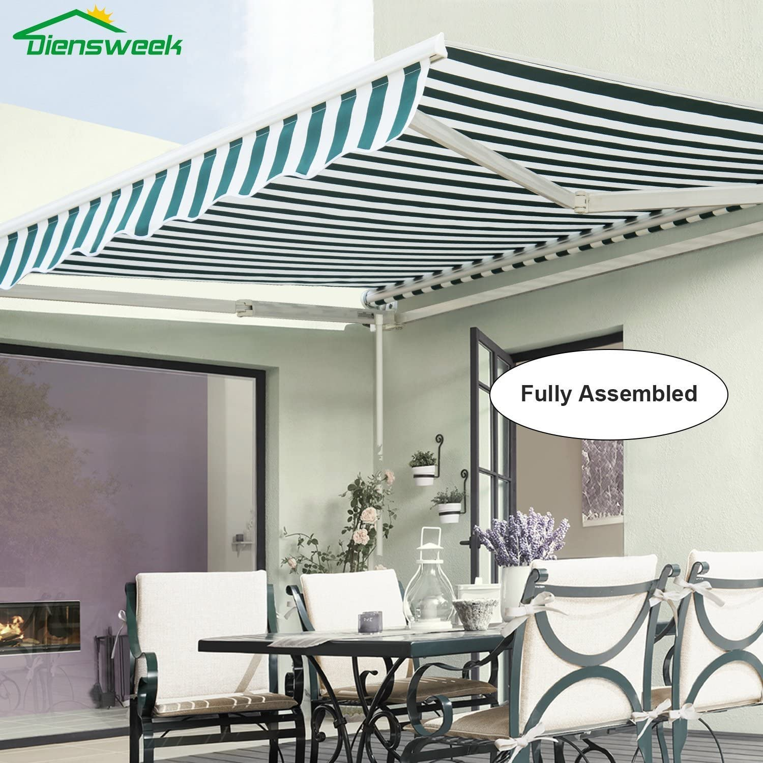 Diensweek 8'x7' Patio Awning Retractable Fully Assembled Manual Commercial Grade, Quality 100% 280G Polyester Window Door Sunshade Shelter,Deck Canopy Balcony P100 Series (8'x7', Green/White Stripes)
