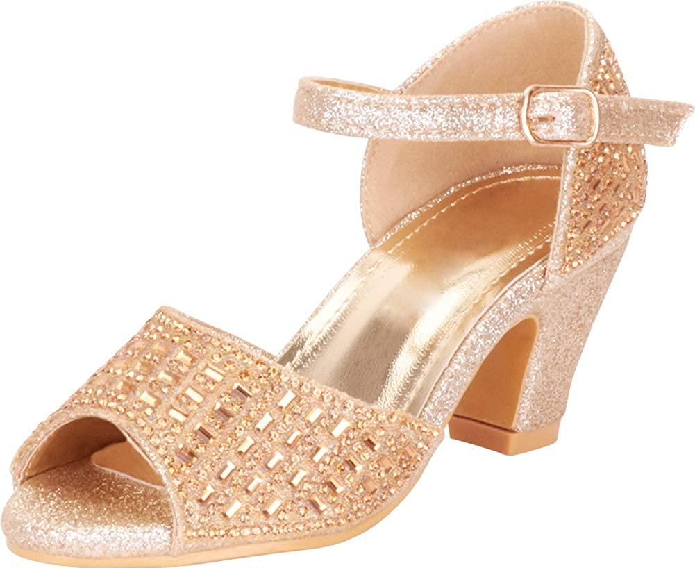 Cambridge Select Girls' Open Toe Chunky Mid Heel Dress Sandal (Toddler/Little Kid/Big Kid)