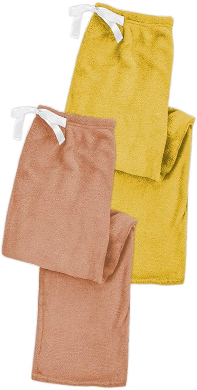 Sexy Basics Women's 2 Pack Super Cozy Fleece Pajama Bottom Lounge Pants/Warm Soft & Cozy Polar Fleece Lounge & Sleep PJ Pants